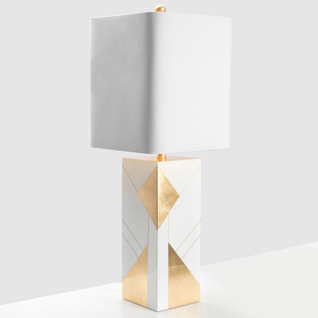 Hollywood Table Lamp in White and Gold Leaf