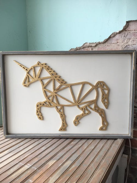 Geometric Unicorn Wooden Wall Decor