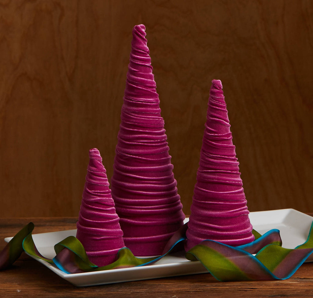 Velvet trees (set of 3) in Magenta