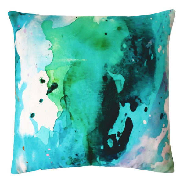 Peacock Mist Outdoor Pillow