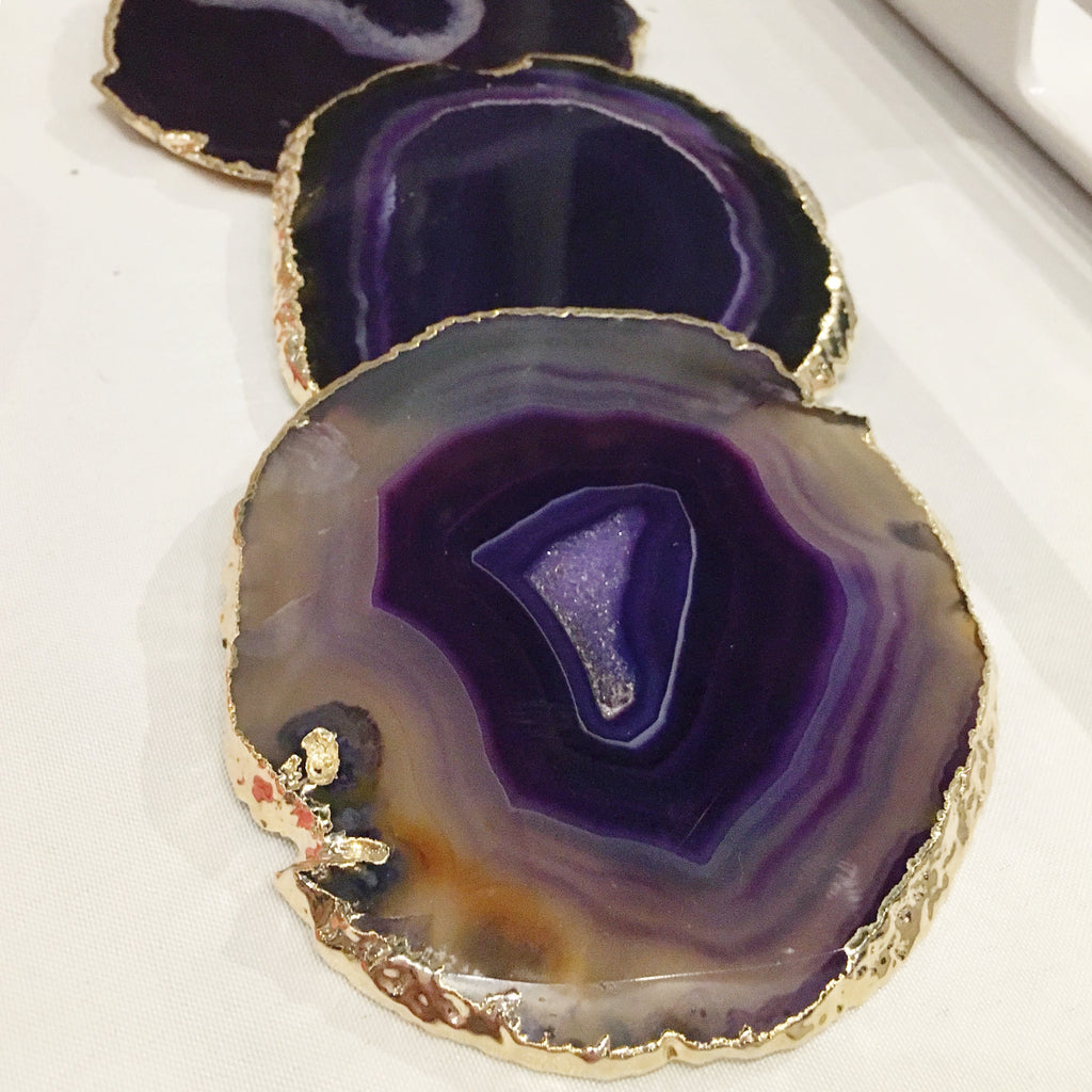 Purple Druzy Cut Agate Coaster with Gold Leaf Trim