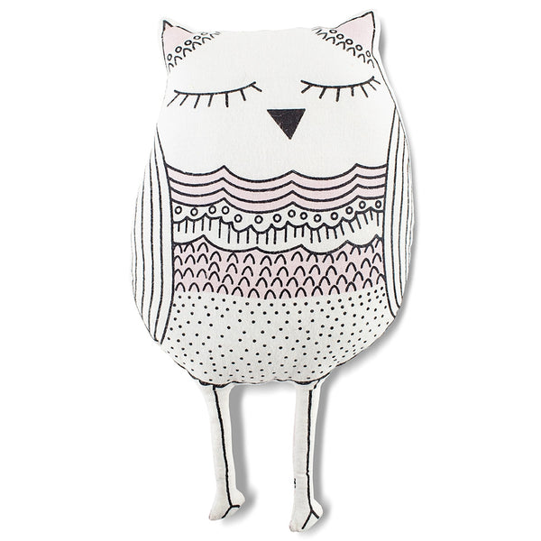 Whoo! Owl Cut-out Pillow in Pink