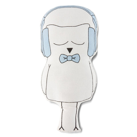 Ollie Owl Cut-out Pillow in Blue