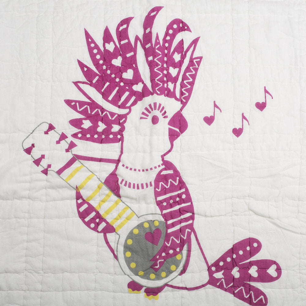 Coco Cockatoo with Feathers Tej Baby Quilt