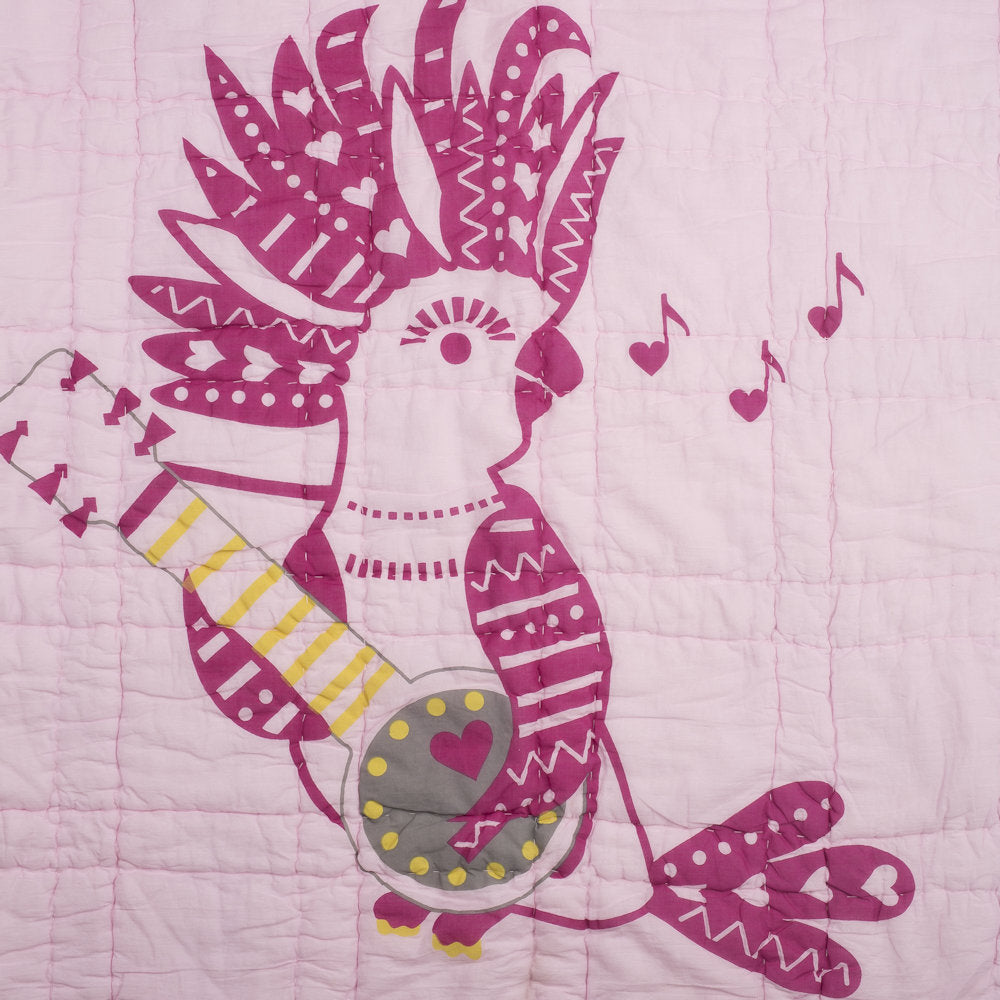 Coco Cockatoo Pink Tej Baby Quilt