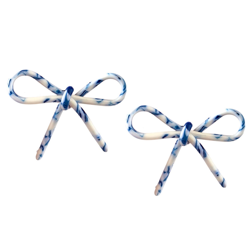 Tortoise Bows - Blue and White