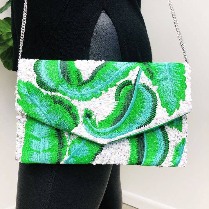 Prep Obsessed Wholesale - Palm Leaf Beaded Clutch