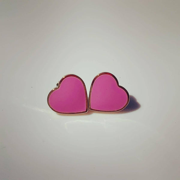 Forever Pink Heart Solid Earrings