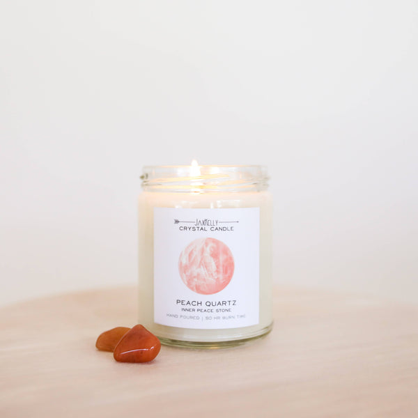 JaxKelly - Peach Quartz Crystal Candle - Inner Peace