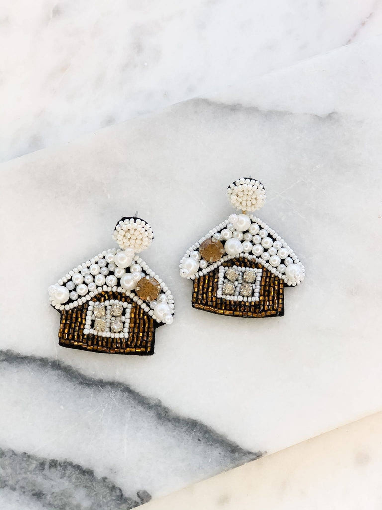 Sparkle Beaded Gingerbread House Statement Earrings