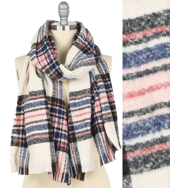 Buttersoft Ivory, Blue, and Blush Plaid scarf