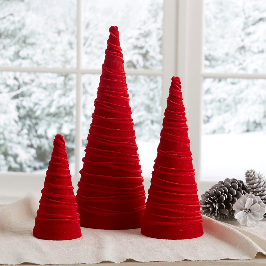 Velvet trees (set of 3) in Red