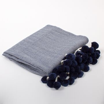 Copy of Pom Pom Herringbone Throw - Navy