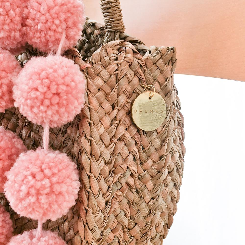 Petite Luna Pink Poodle Round Straw Bag - Small