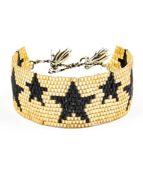 Gold & Black  Star Hand Beaded Bracelet