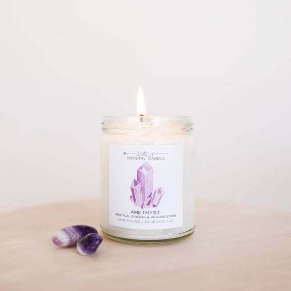 JaxKelly - Amethyst Crystal Candle - Spiritual Growth & Healing