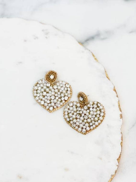 Rhinestone and Pearl Heart Statement Earrings
