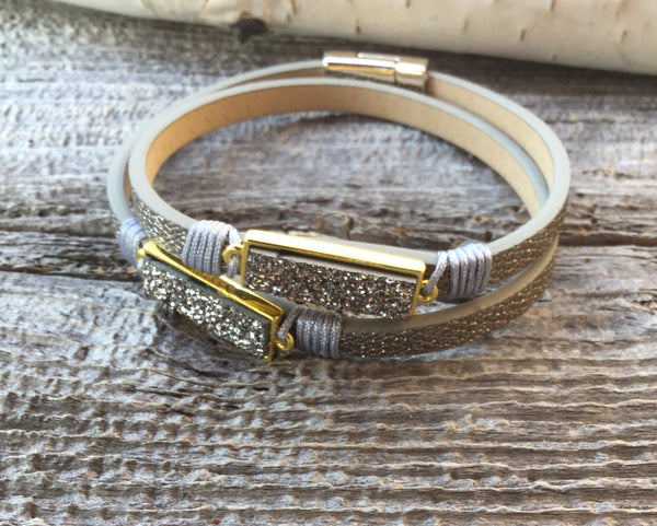 Leather bracelet light greys with double druzy