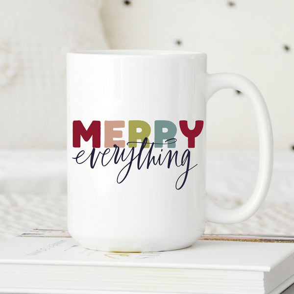 Sweet Mint HandMerry Everything Colorful Mug, Modern Holiday Cup