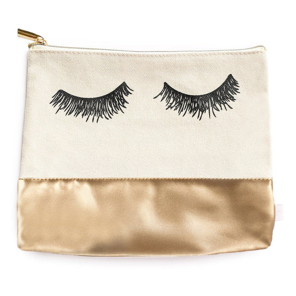 Eyelash Gold metallic Leather Makeup Bag