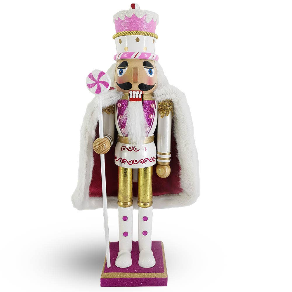 Nutcracker Ballet Gifts - King Nutcracker with Cake Hat in Lavender, Pink and White with Velvety Cape 15 inch