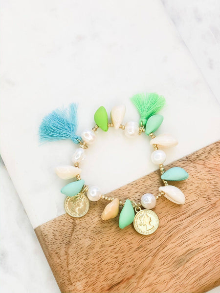 Puka Shell and Tassel Stretch Bracelet - Pearl