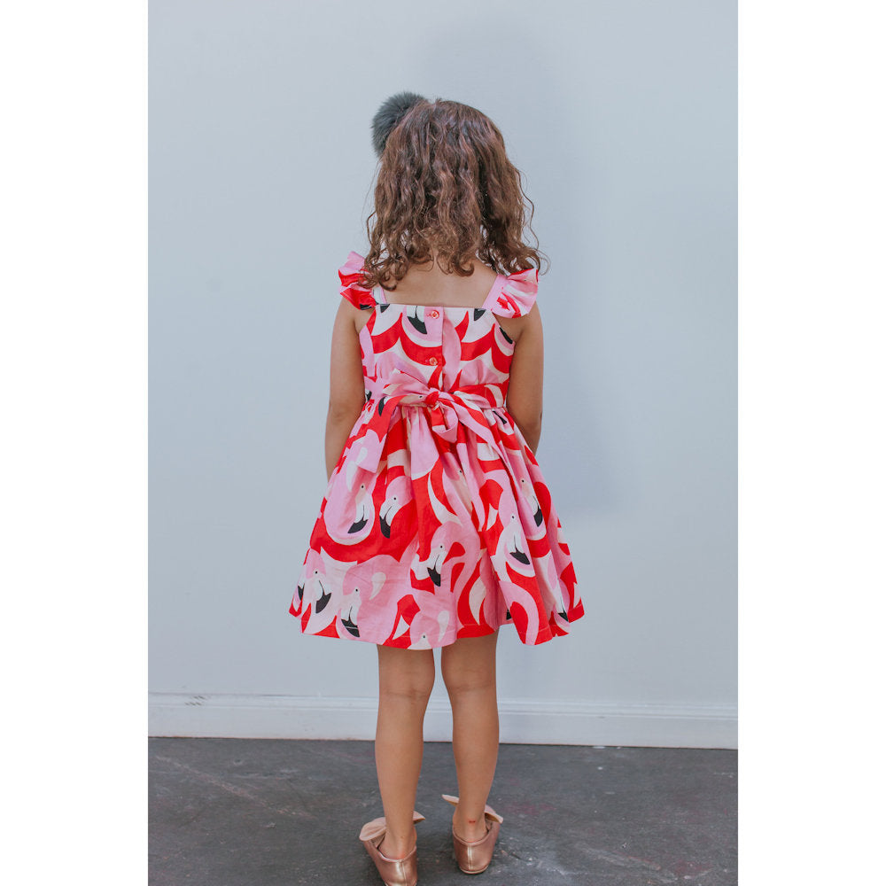 Fay Flamingo Print Dress