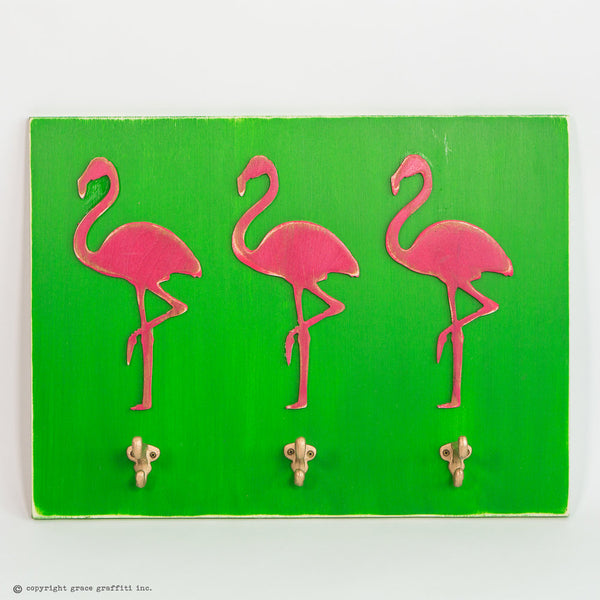 Flamingo Wall Art with Hooks