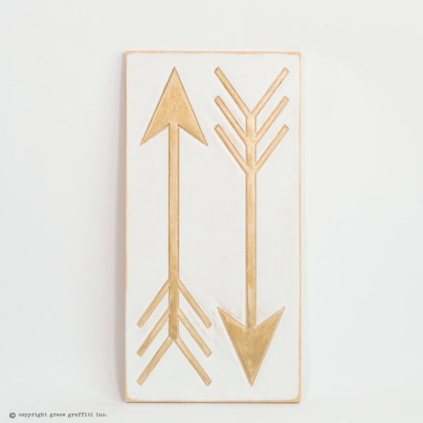 Engraved Gold Arrow Wall Art