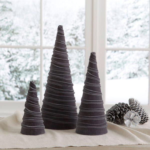 Velvet trees (set of 3) in Gray