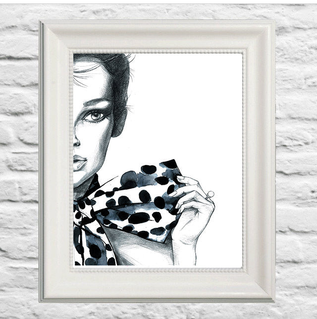 Polka Dot Girl Art Print