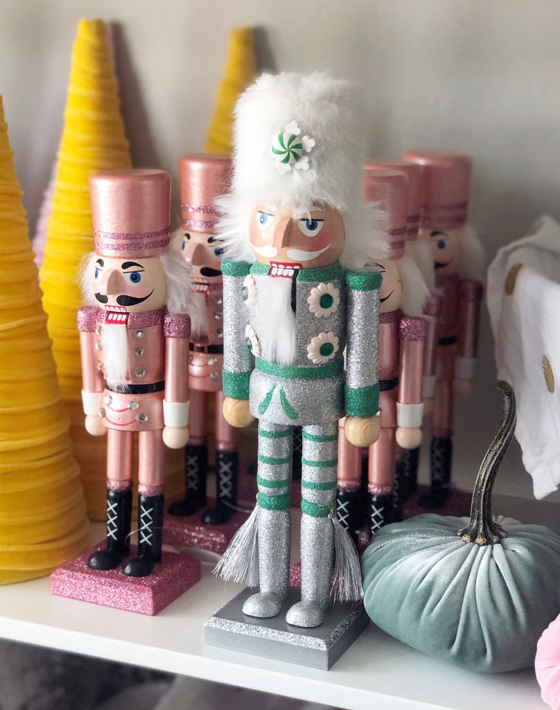 Nutcracker Silver and Green with Fur Hat and Tassels 12 inch