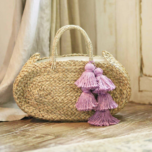 Oval Luna Straw Bag - with Purple Tassels