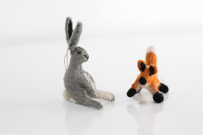 Fox and Hare Felted Ornaments (set of 2)