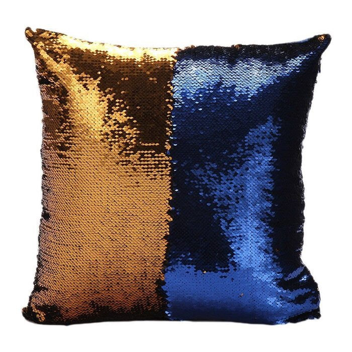 Blue/Gold Mermaid Pillow Cover
