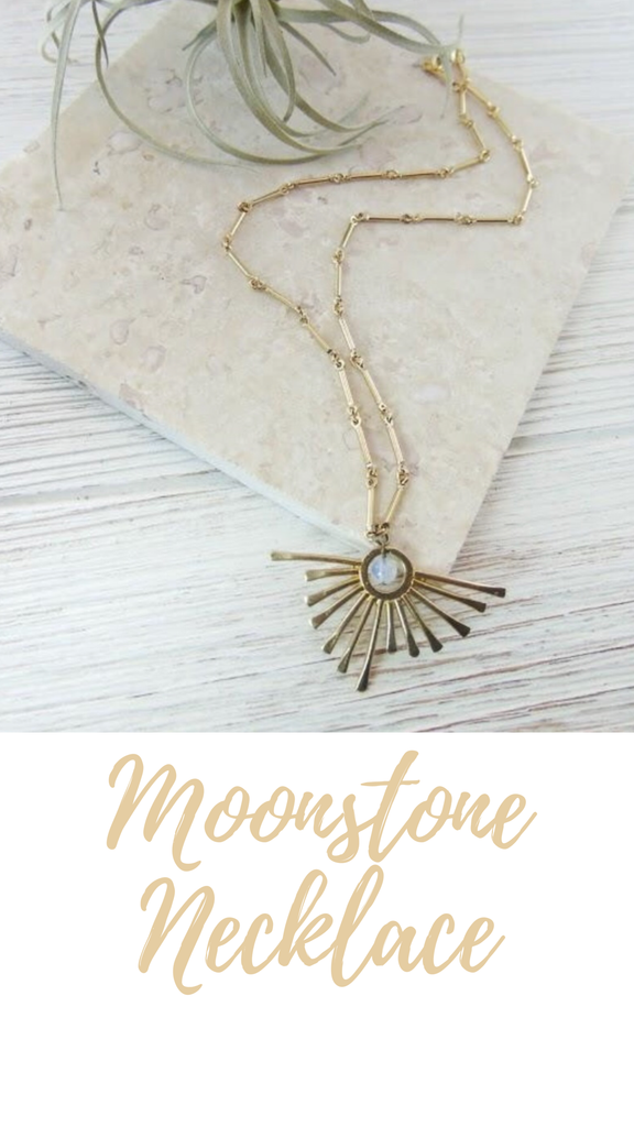 Gold Sun Moonstone Necklace