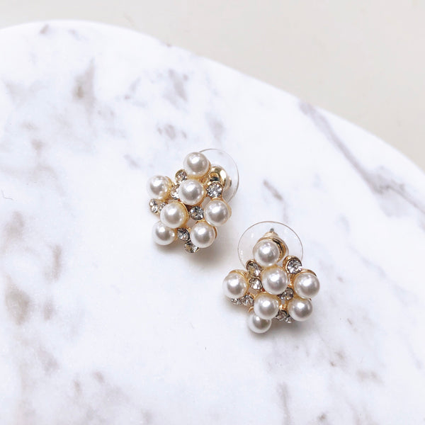Sparkle Pearl Cluster Stud Earrings