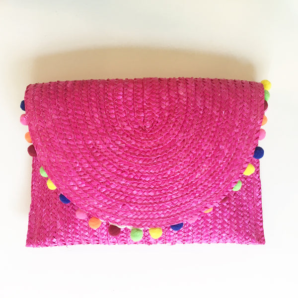 Pink Palm Springs Pom Clutch