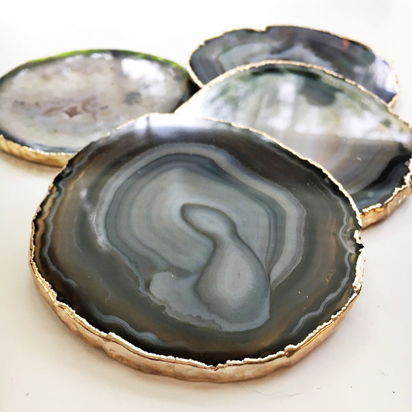 Black and Gray Agate coasters with gold leaf trim