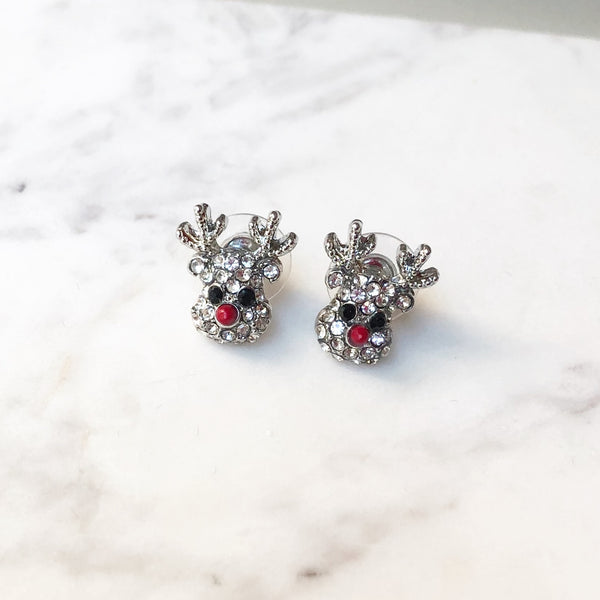 Silver Shimmer Rudolph Reindeer Glitzy Studs