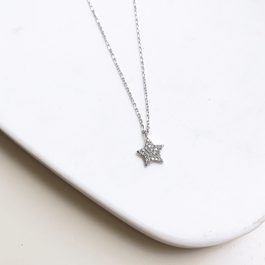 Silver Star Studded Pendant Necklace