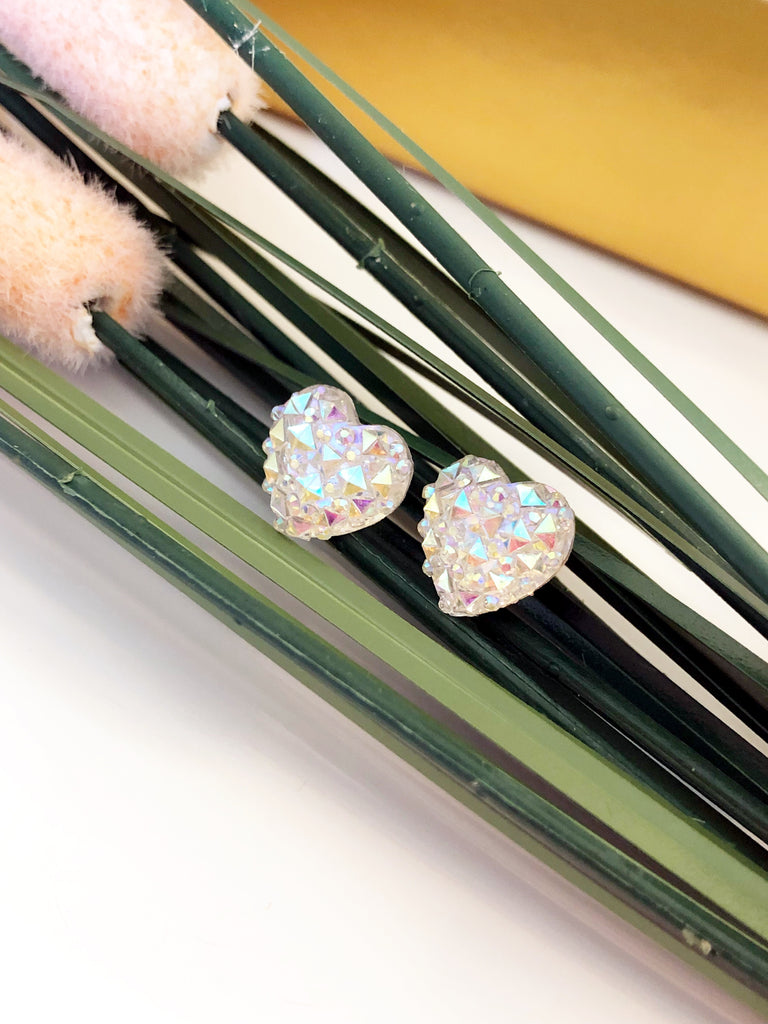Faceted Sparkle Heart Earrings