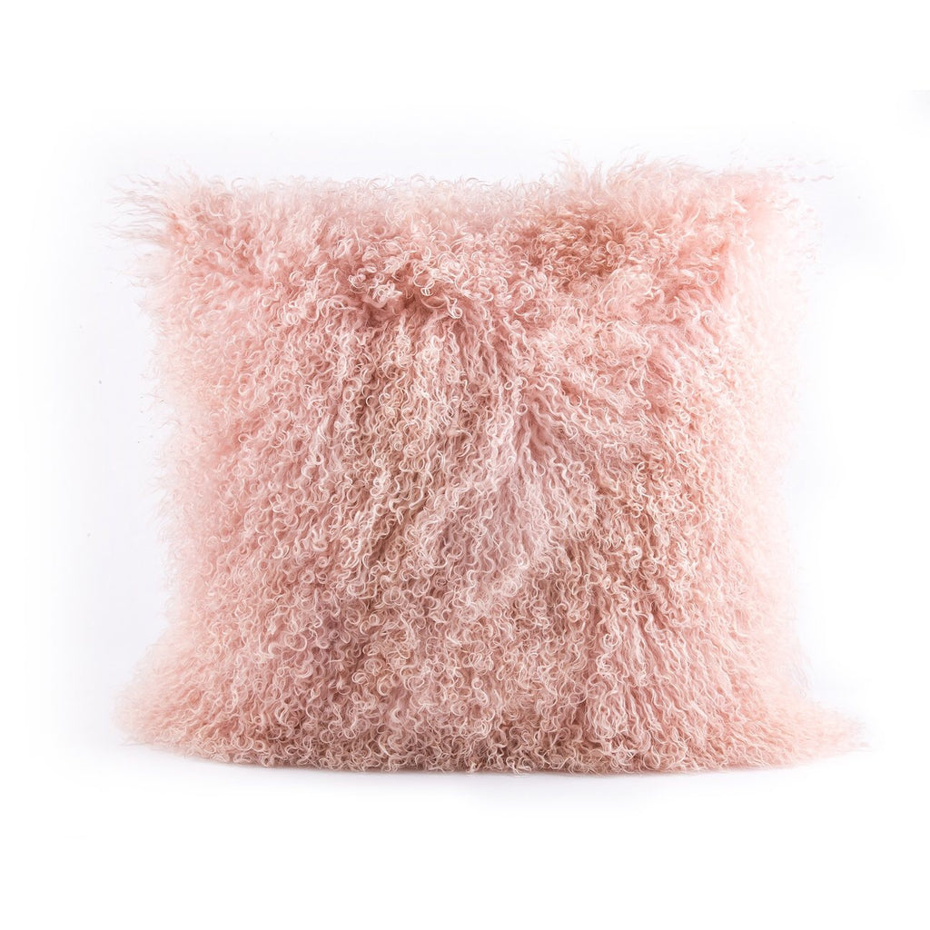 Mongolian fur, pink pillow