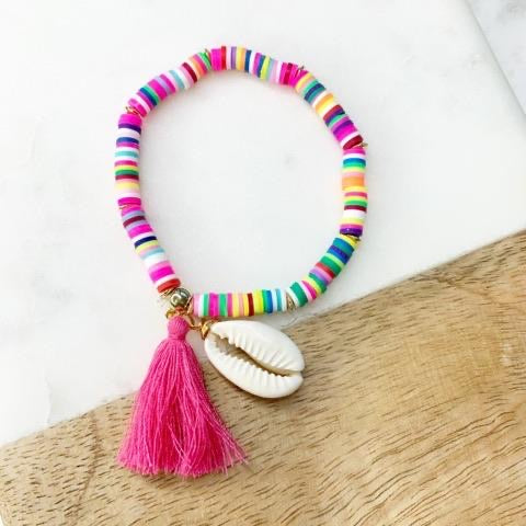 Multi color Puka Shell Disc Stretch Tassel Bracelet