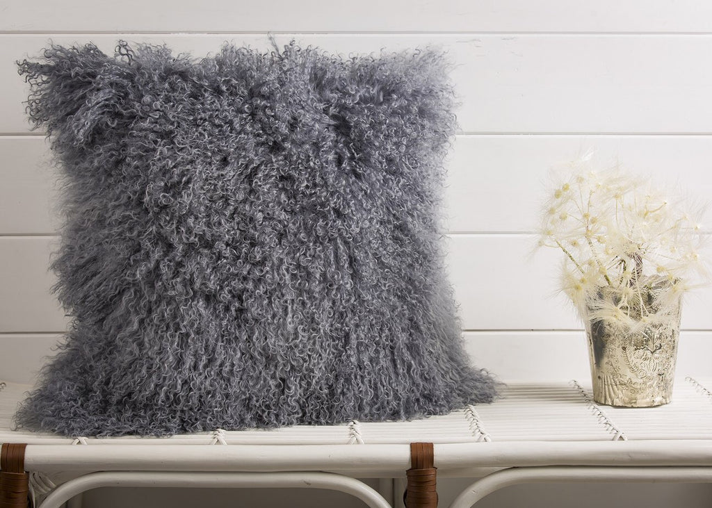 Mongolian fur, gray pillow