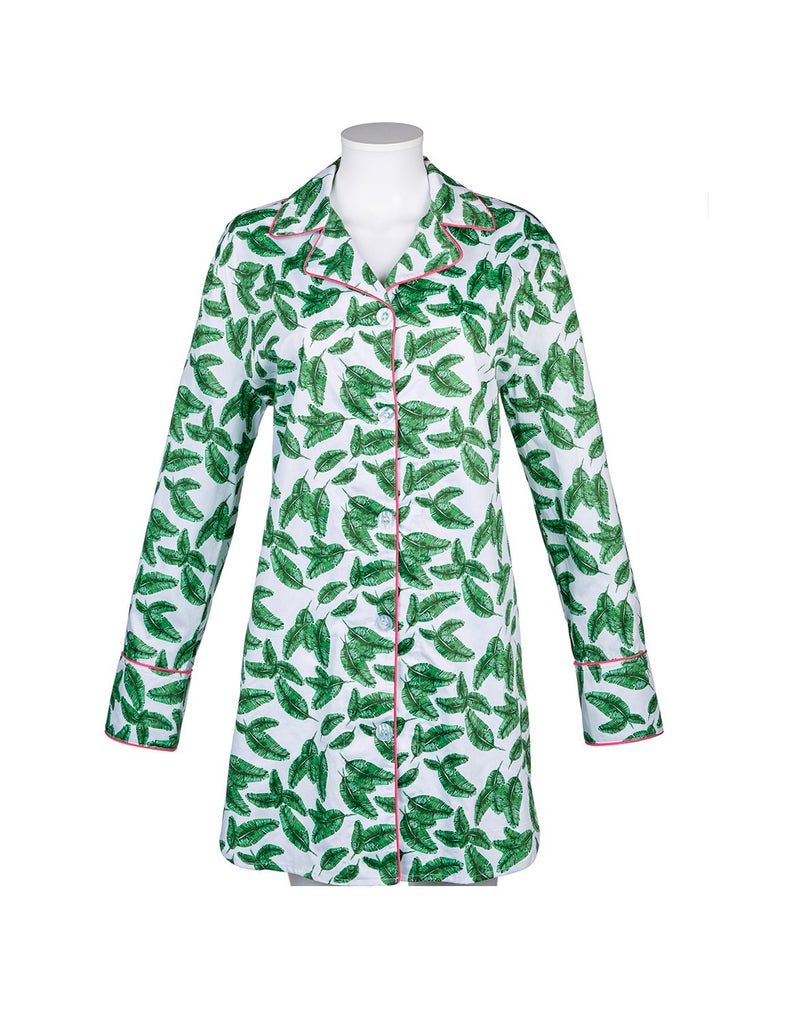 Banana Leaf Nightshirt w/pink piping