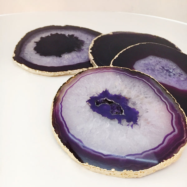 Eggplant Agate coasters with gold leaf trim - premium set