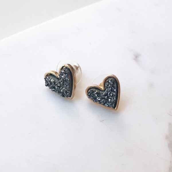 Gray Druzy Heart Stud Earrings