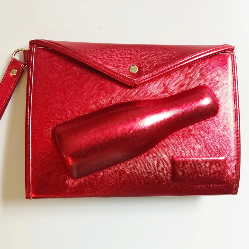 Small 3D Champagne Pouch - Red metallic
