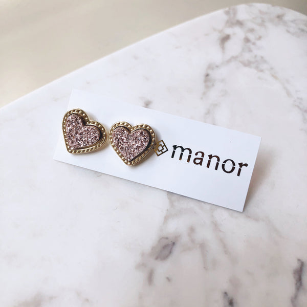 Blush Druzy Heart Stud Earrings